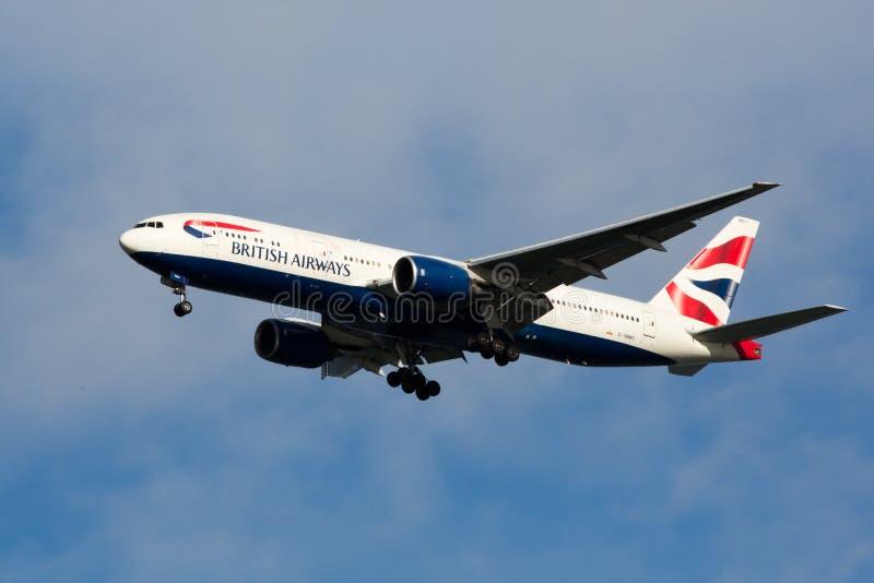 777条空中航线波音英国 库存图片