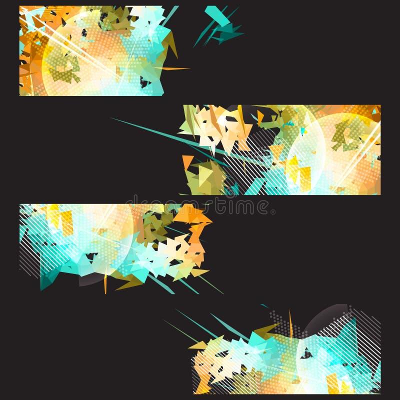 条纹和爆炸横幅集合 向量例证