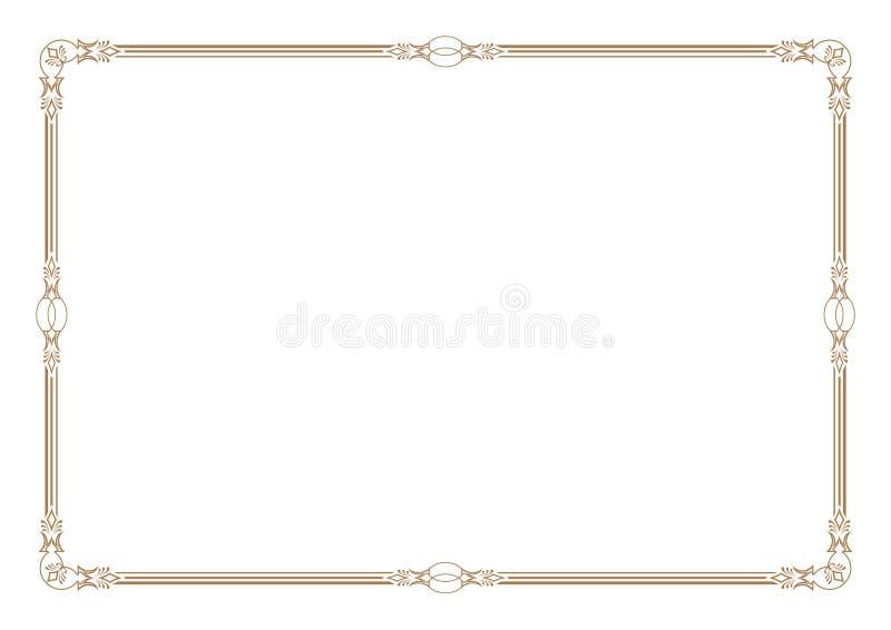 3条纹样式金边界&框架空白 库存例证