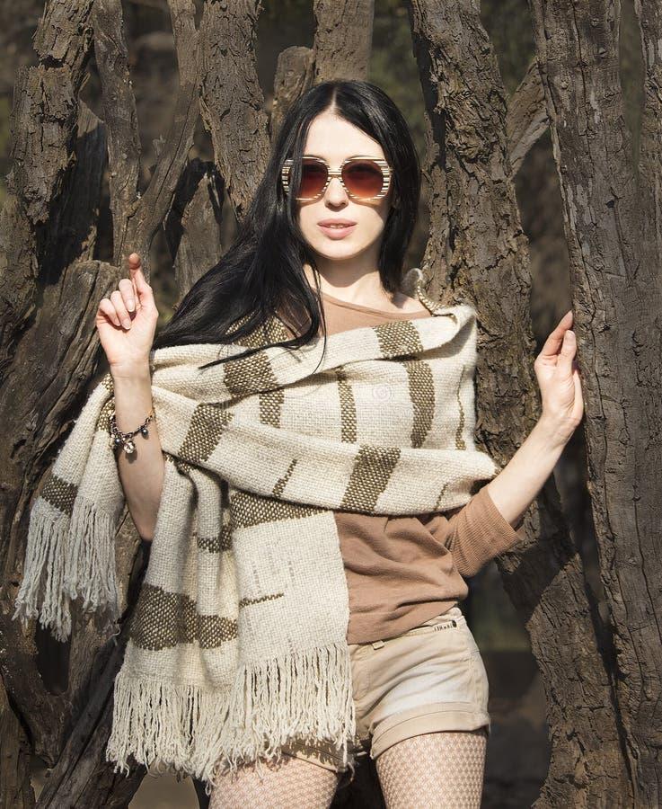 条纹玻璃的,秋天米黄棕色衣裳妇女 时尚mod 免版税图库摄影