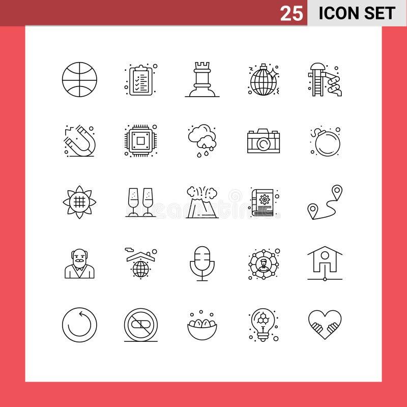 """25条线和符号的现代集,如""""停车""""、""""滑块""""、""""数字""""、""""停车""""、""""夜间"""" 向量例证"""