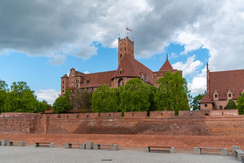 条顿人命令的城堡在马尔堡是在马尔堡附近,波兰镇位于的13世纪城堡  免版税库存图片