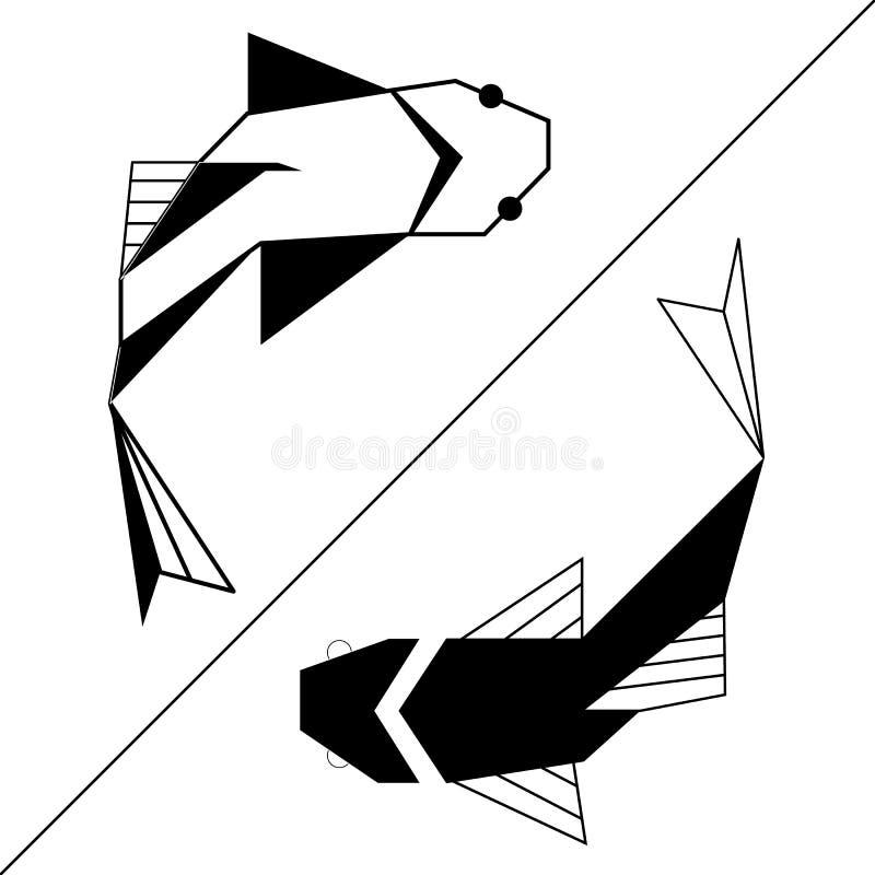 2条鱼,双鱼yin杨概念 纹身花刺、商标、象征和设计元素的等高 皇族释放例证