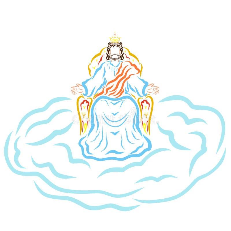 来临耶稣基督,天堂王位的国王  皇族释放例证
