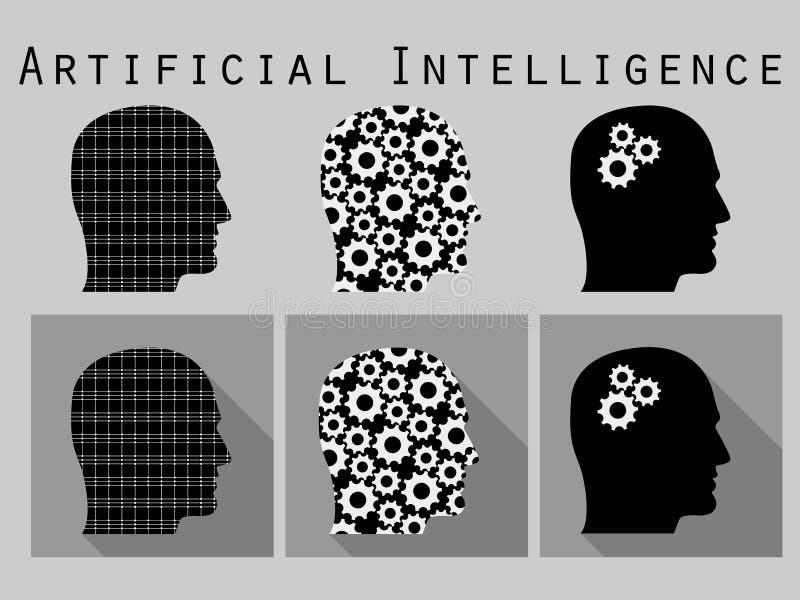 来的顶头人现出轮廓字 人工智能,有齿轮的头 在一个平的设计的象集合与长的阴影 向量例证