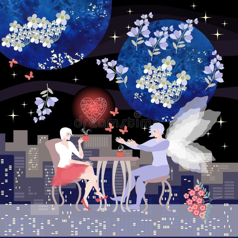 来真的梦想 爱的历史 美女喝在咖啡馆的茶,并且可爱的人到达她 向量例证