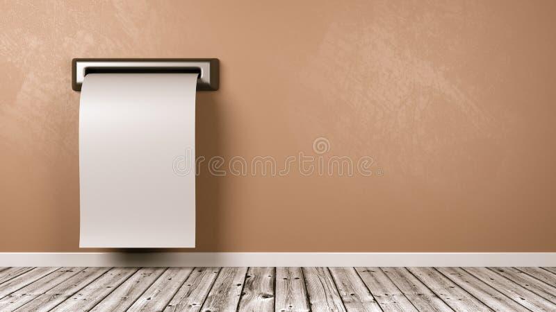 来自屋子的墙壁的空白的收据 向量例证