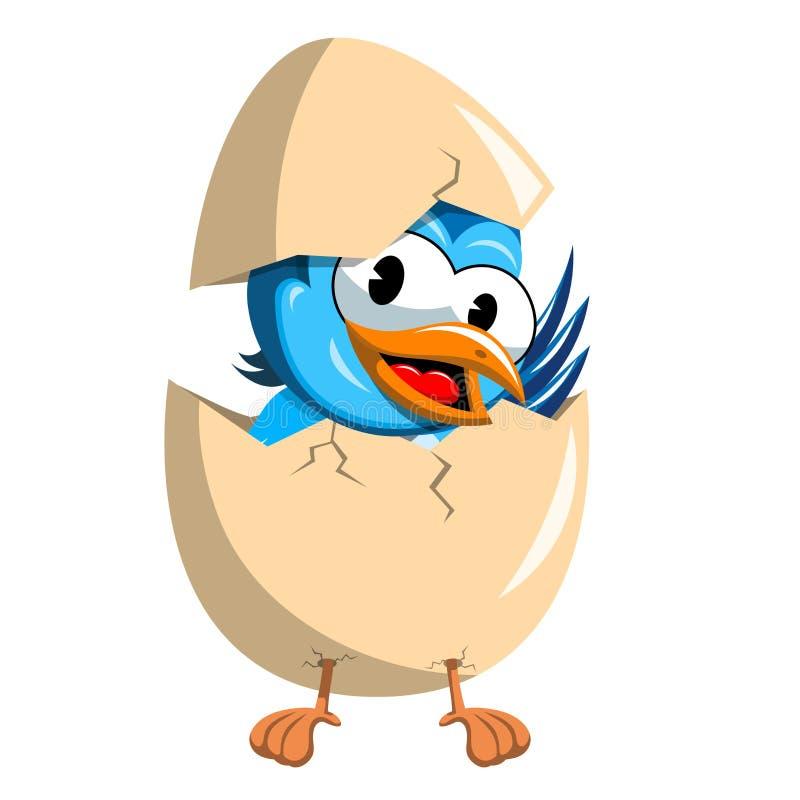 来自残破的鸡蛋的逗人喜爱的鸟被隔绝 向量例证