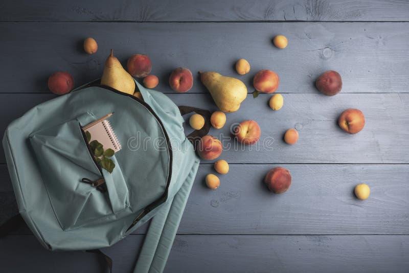 来自背包的新鲜水果 收割期 免版税库存照片