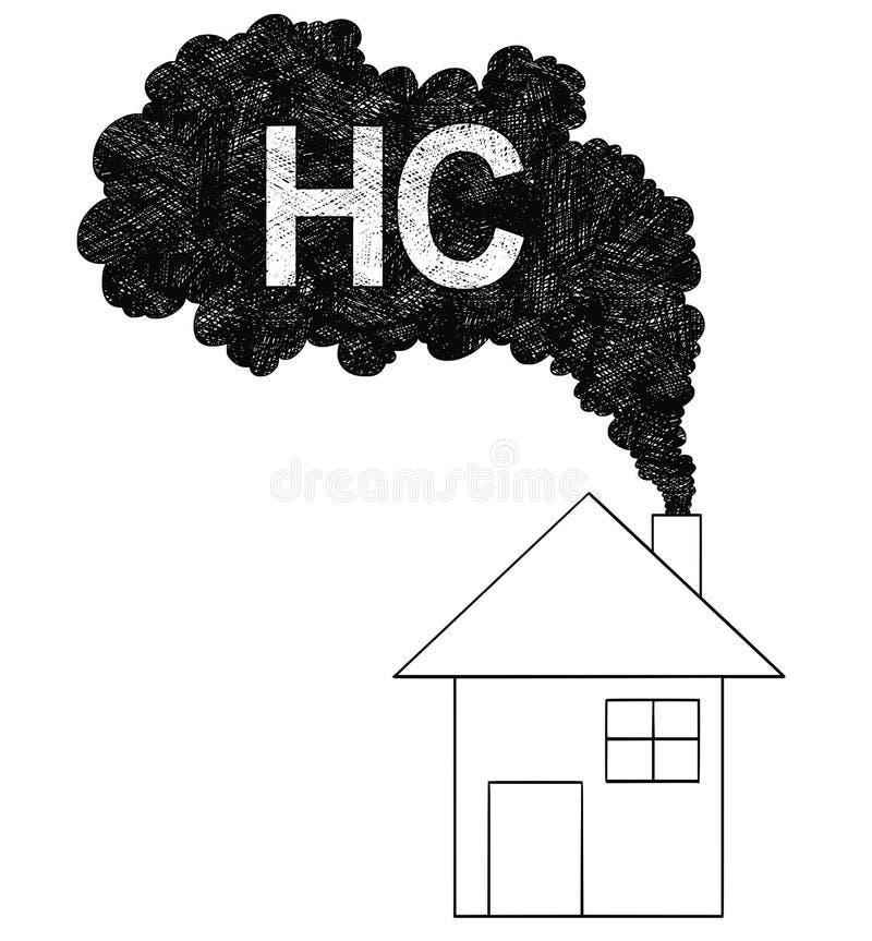 来自议院烟囱、HC或者碳氢化合物大气污染概念的烟的传染媒介艺术性的图画例证 向量例证