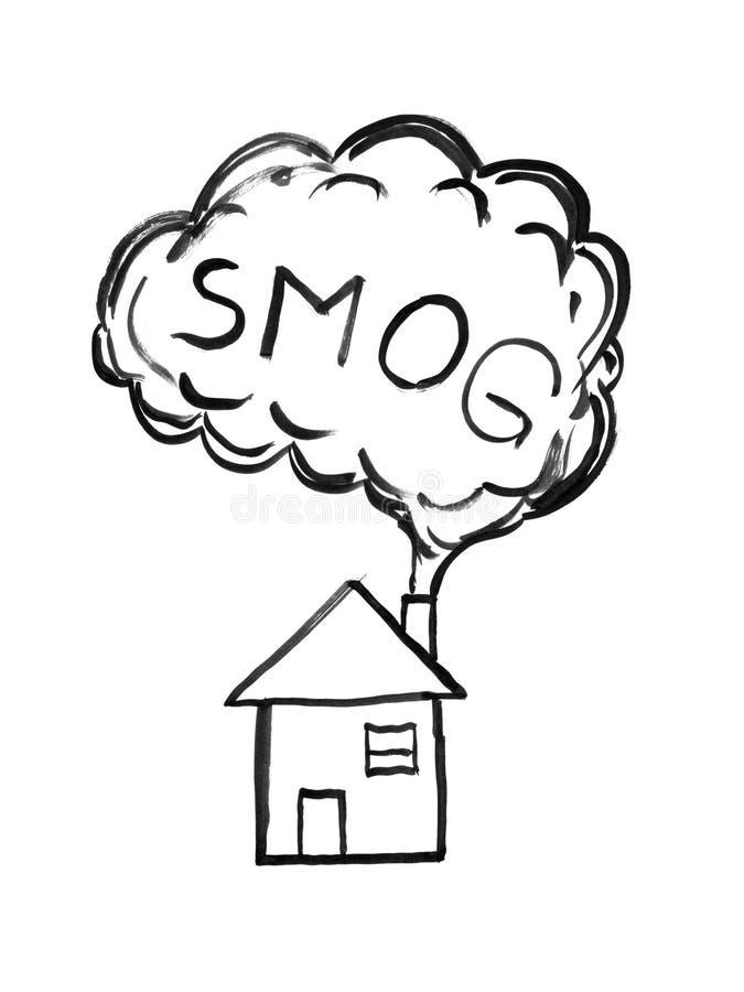 烟黑刷子和墨水艺术性的粗砺的手图画入空气 烟雾污染的环境概念