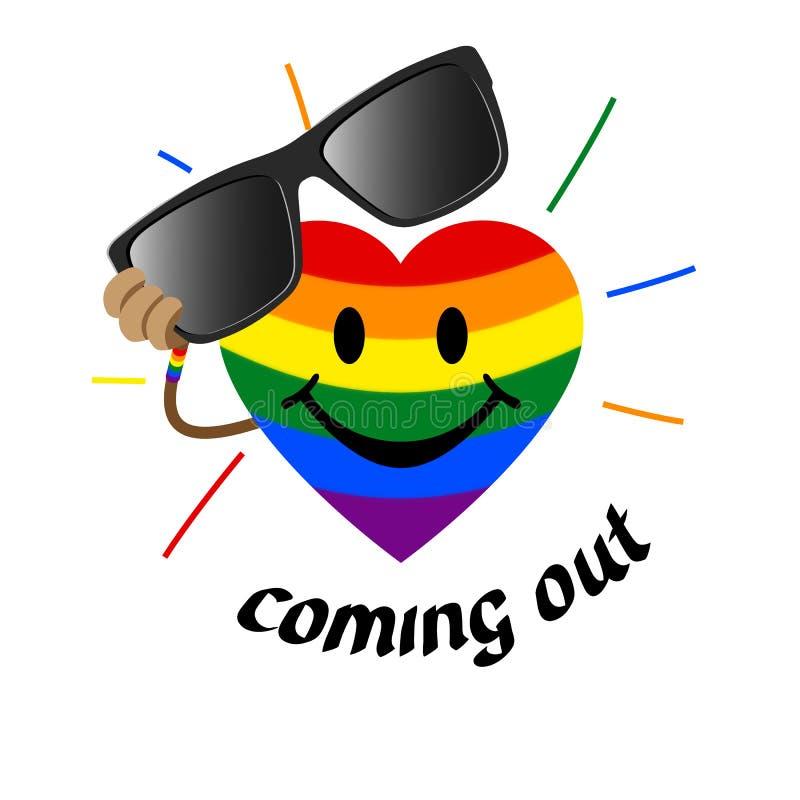 来LGBT标志-在彩虹旗子LGBTK的颜色的心形去除太阳镜 标志公认是快乐的 皇族释放例证