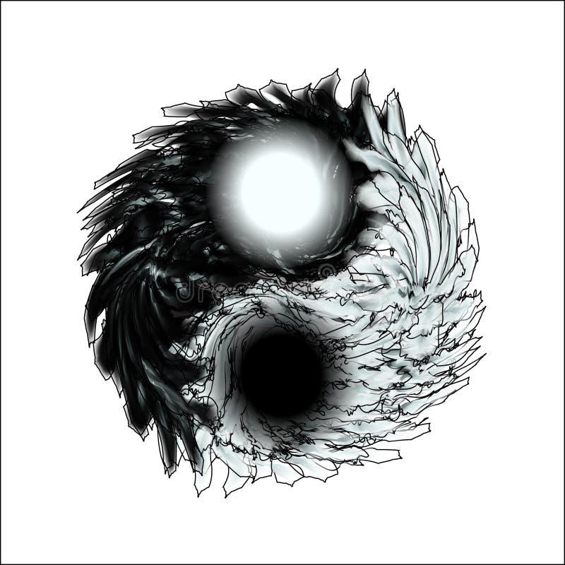 杨yin 设计,成人的精神放松的羽毛似坛场隔离 上色的黑白例证 库存例证