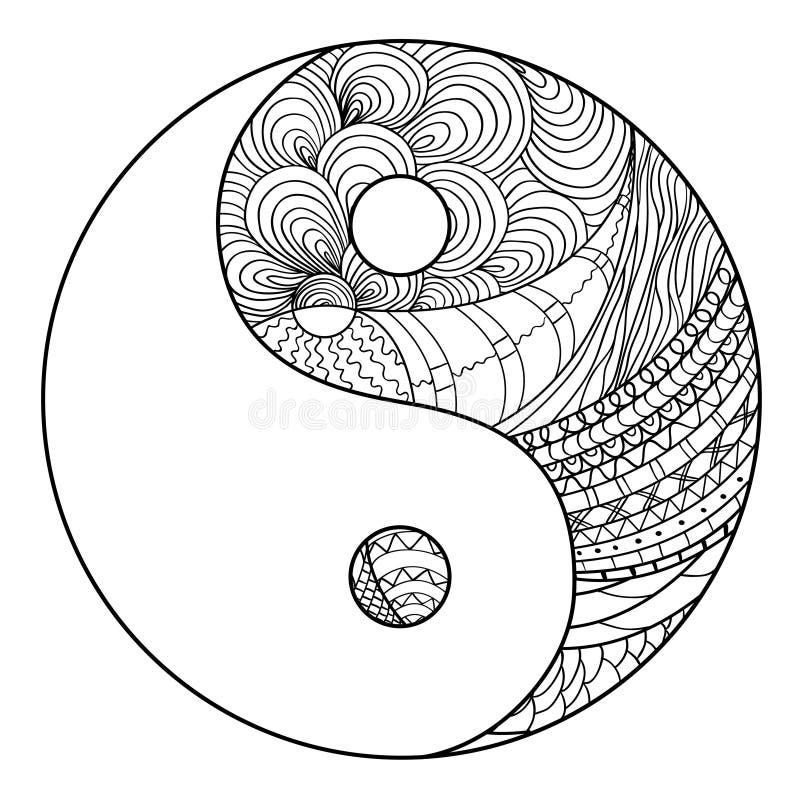 成人yin囹.���,_杨yin zentangle 在隔离背景的手拉的坛场 精神放松的设计成人的 线