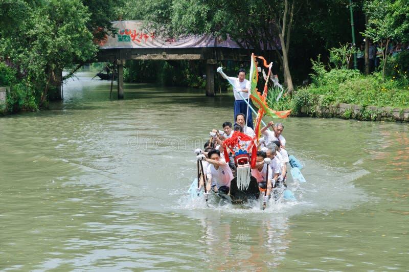 杭州xixi沼泽地龙舟赛,在中国 免版税库存图片