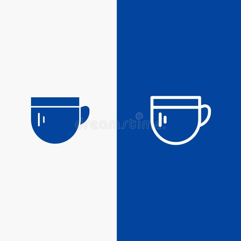 杯、茶、咖啡,基本的线和纵的沟纹坚实象蓝色旗和纵的沟纹坚实象蓝色横幅 库存例证
