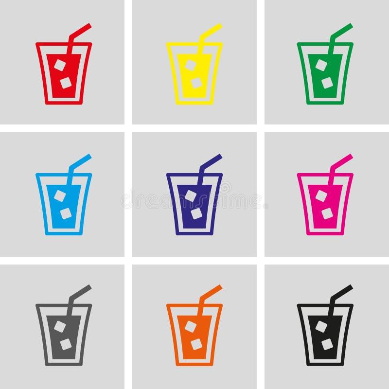 杯与冰象股票传染媒介例证平的设计的水 向量例证