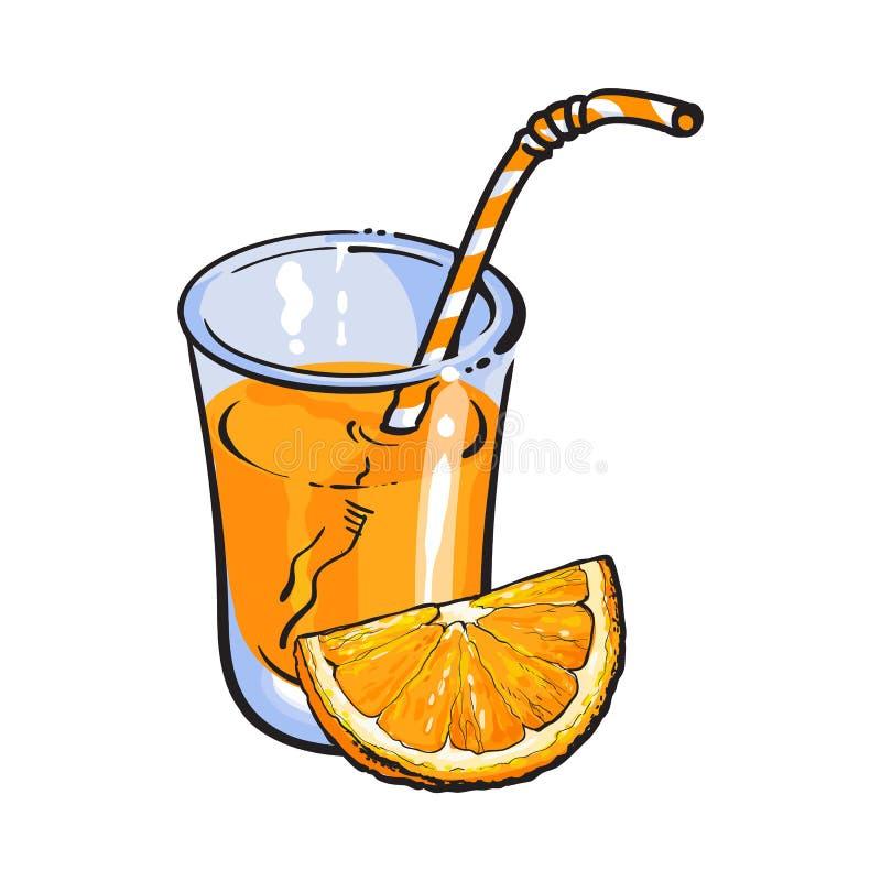 杯与橙色片断,传染媒介例证的新近地被紧压的汁液 库存例证