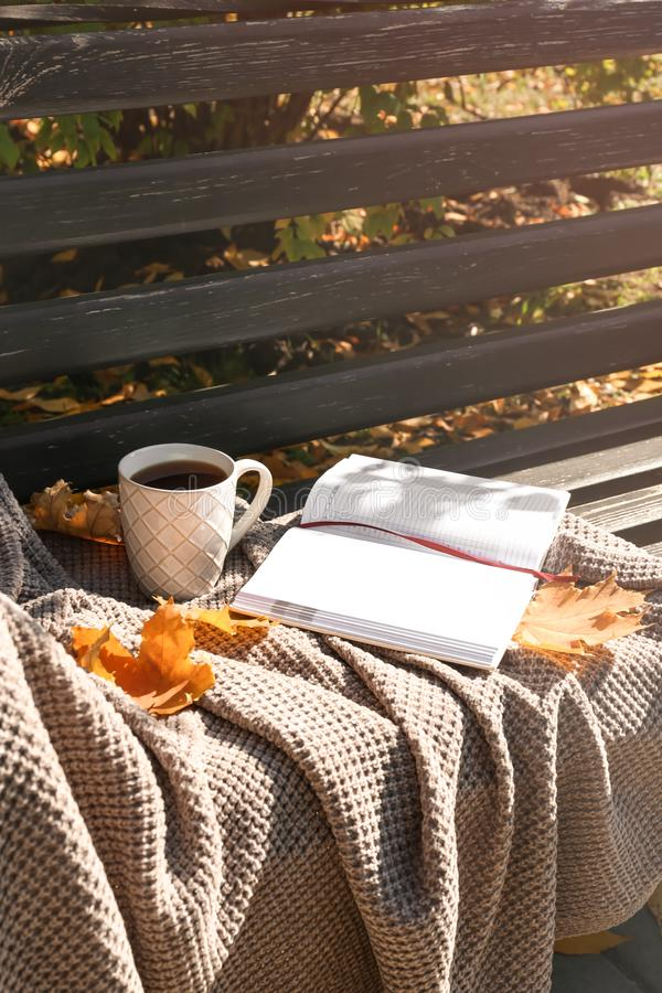 杯与温暖的格子花呢披肩、笔记本和秋叶的热的咖啡在长木凳在公园 免版税库存图片