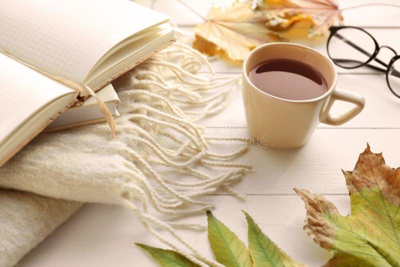 杯与温暖的格子花呢披肩、笔记本和秋叶的芳香茶在白色木桌上 库存照片
