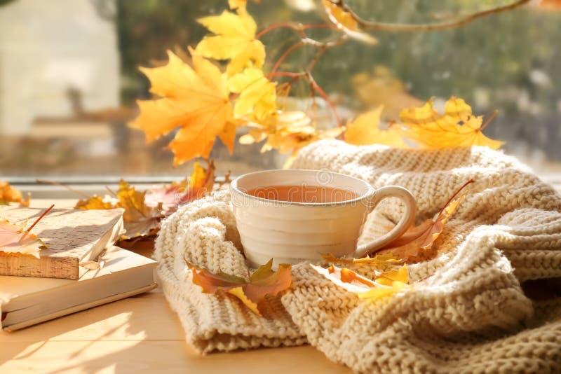 杯与温暖的格子花呢披肩的芳香茶和在窗台的秋叶 免版税库存图片
