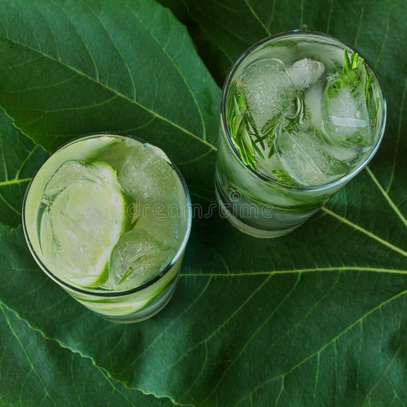 杯与石灰切片、冰块和rosema的碳酸化合的饮料 图库摄影