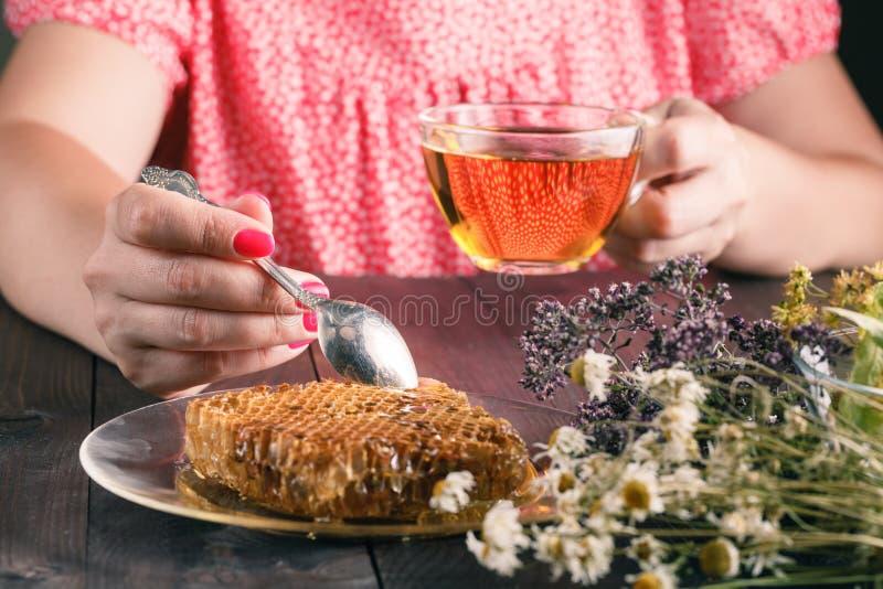 杯与野花和各种各样的草本的清凉茶 库存照片