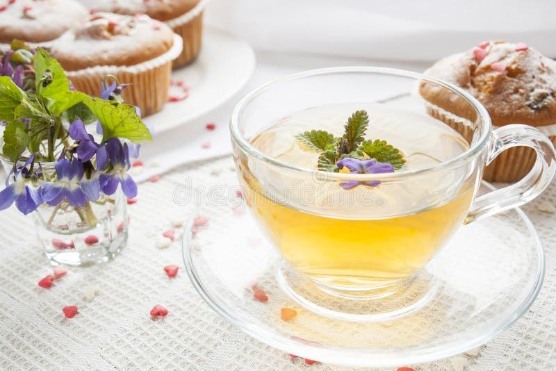 杯与香蜂草的绿茶和与糖心脏的鲜美松饼 库存图片