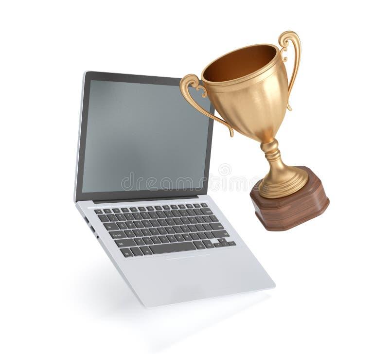 杯优胜者和膝上型计算机在白色背景 皇族释放例证