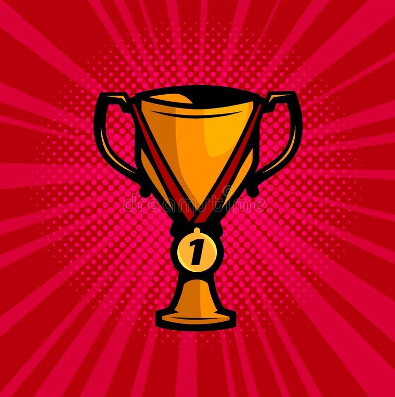 杯优胜者和金牌 成功,成就,冠军传染媒介例证 向量例证