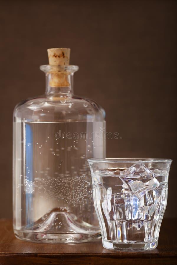 杯冰冷的水和瓶 图库摄影