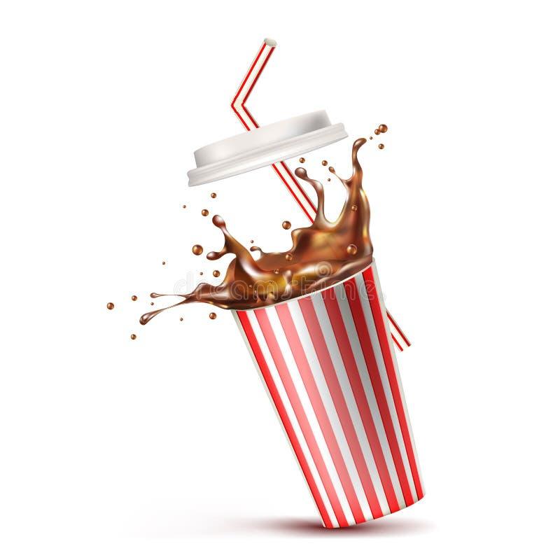 杯可乐飞溅 也corel凹道例证向量 库存例证