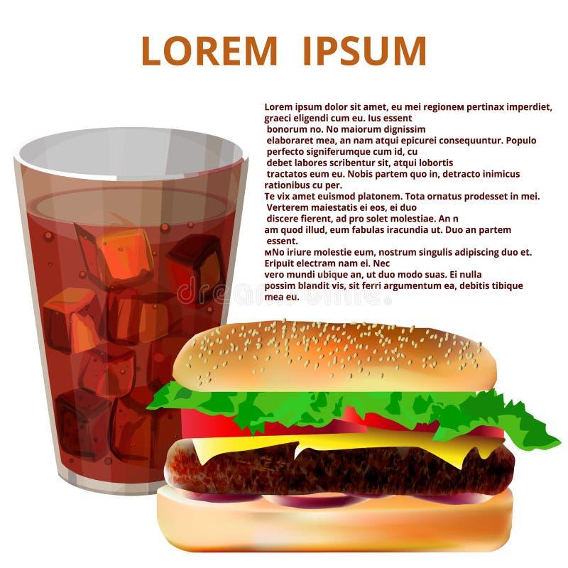 杯可乐,汉堡包,快餐菜单 向量例证