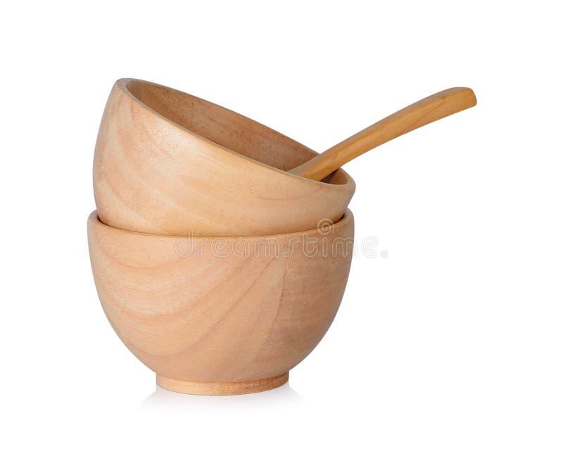 杯和木匙子在白色背景 库存照片