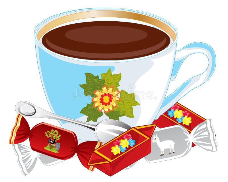 杯咖啡和蜜钱 皇族释放例证