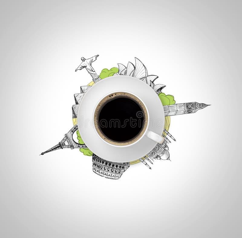 杯咖啡,在图画七奇迹剪影世界隔绝,白色背景 库存例证
