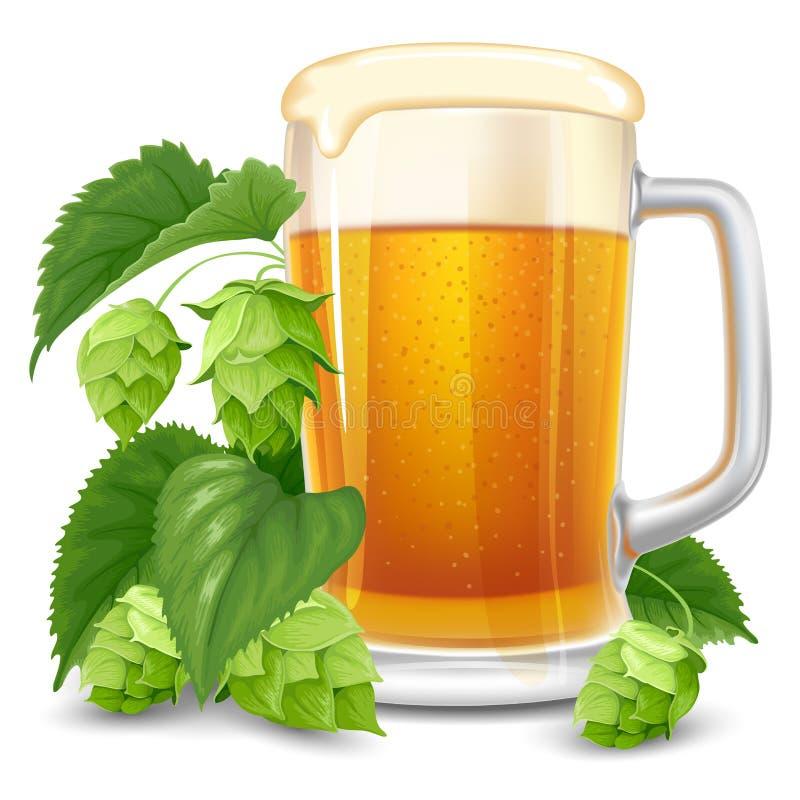 杯啤酒和蛇麻草 库存例证