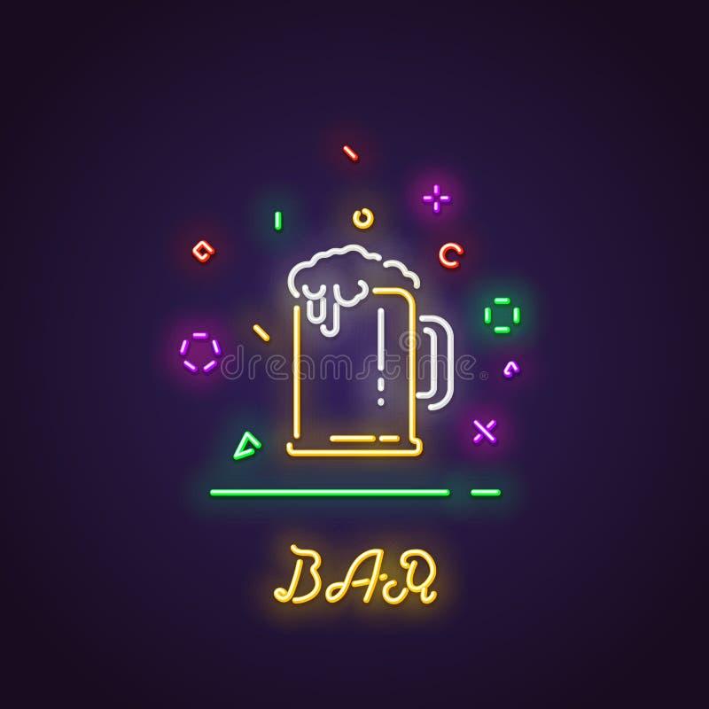 杯啤酒霓虹灯广告 库存例证