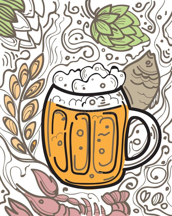 杯在乱画背景的啤酒 皇族释放例证