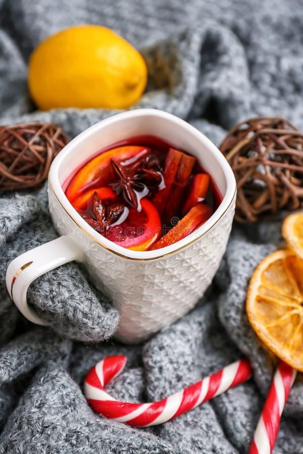 杯在温暖的格子花呢披肩的可口加香料的热葡萄酒 库存照片
