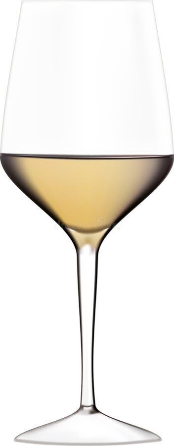 杯在白色背景的白葡萄酒例证 库存照片