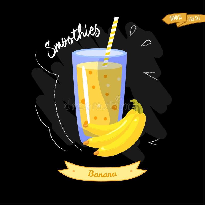杯在黑背景的圆滑的人 香蕉 夏天设计-有益于菜单设计 皇族释放例证
