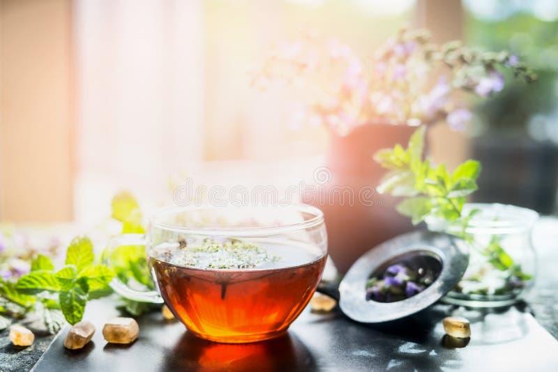 杯在仍然窗口的热的清凉茶在晴朗的自然背景,水平 家庭场面 图库摄影