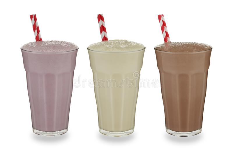 3杯奶昔 免版税库存图片