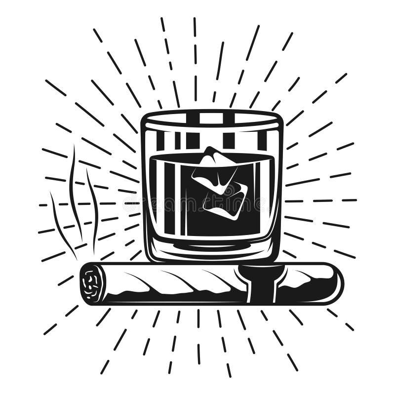 杯威士忌酒和与光芒的抽烟的雪茄盖印 向量例证