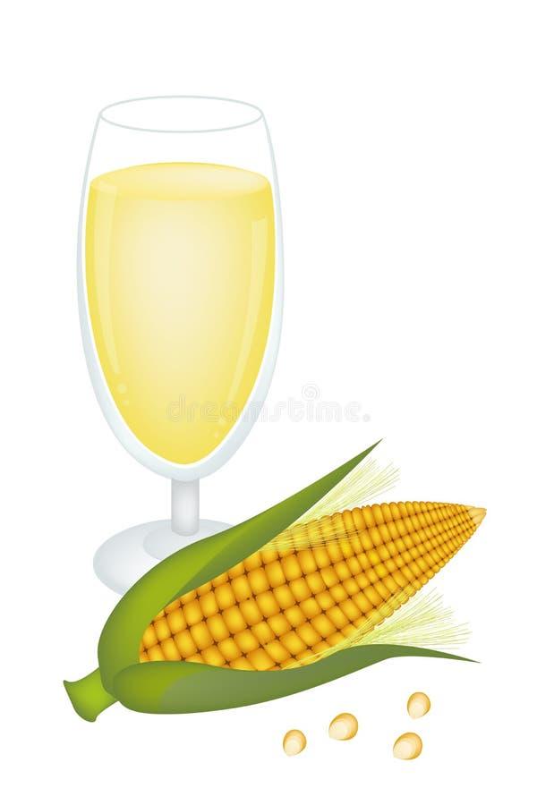 杯威士忌酒和新鲜的甜玉米 向量例证
