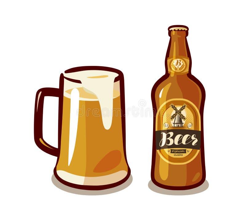 杯子与泡沫、瓶强麦酒或者贮藏啤酒的工艺啤酒 酒吧,客栈,酒精饮料,喝概念 也corel凹道例证向量 向量例证