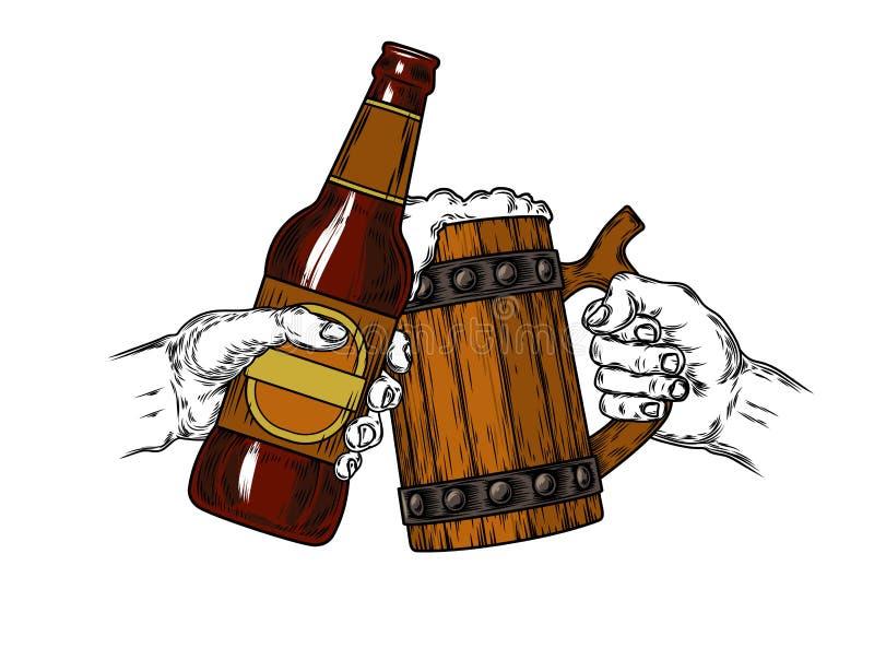杯子与泡沫和一个棕色瓶的啤酒 向量例证