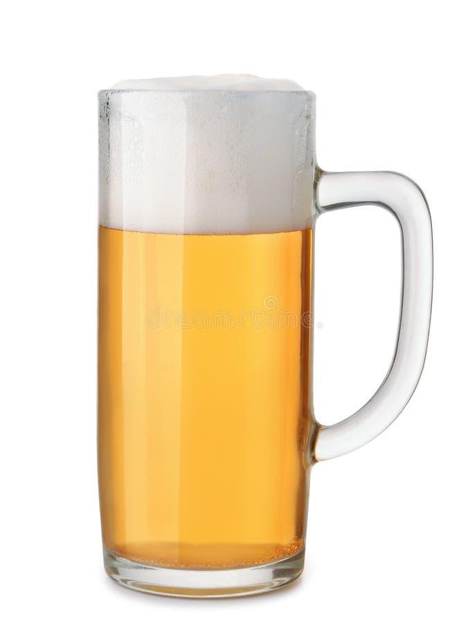 杯子与泡沫的新鲜的啤酒 免版税库存照片