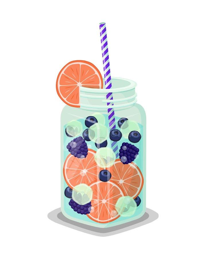 杯子刷新的饮料新鲜的葡萄柚或桔子 皇族释放例证